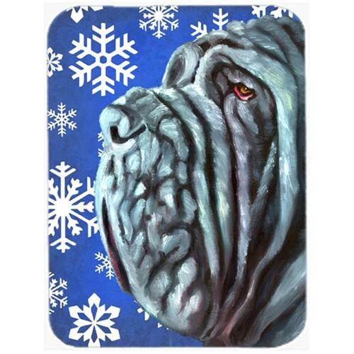 Carolines Treasures LH9582MP Neapolitan Mastiff Winter Snowflakes Holiday Mouse Pad Hot Pad & Trivet