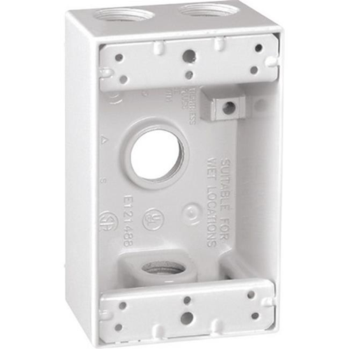Sigma 14251WH 1 Gang White Rectangle Weatherproof Outlet Box