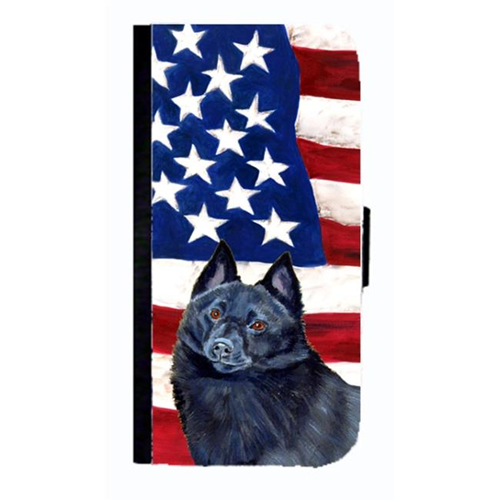 Carolines Treasures LH9009NBGALAXYS4 USA American Flag With Schipperke Cell Phonebook Case Cover For Galaxy 4S