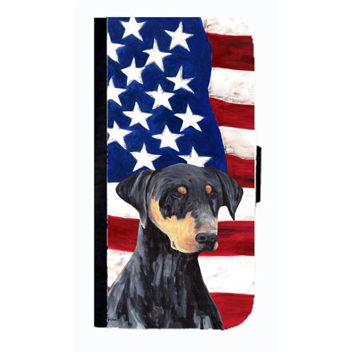 Carolines Treasures SC9030NBGALAXYS4 USA American Flag With Doberman Cell Phonebook Case Cover For Galaxy 4S