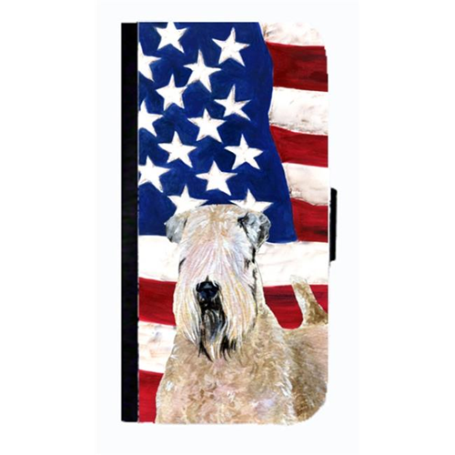 Carolines Treasures SS4019NBGALAXYS4 USA American Flag With Wheaten Terrier Soft Coated Cell Phone Case For Galaxy 4S