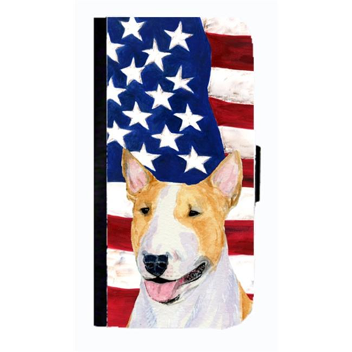 Carolines Treasures SS4023NBGALAXYS4 USA American Flag With Bull Terrier Cell Phonebook Case Cover For Galaxy 4S