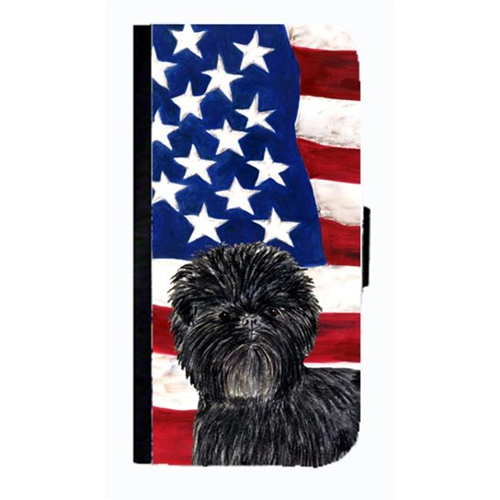 Carolines Treasures SS4038NBGALAXYS4 USA American Flag With Affenpinscher Cell Phonebook Case Cover For Galaxy 4S