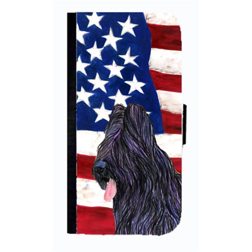 Carolines Treasures SS4052NBGALAXYS4 USA American Flag With Briard Cell Phonebook Case Cover For Galaxy 4S