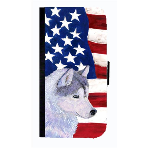 Carolines Treasures SS4220NBGALAXYS4 USA American Flag With Siberian Husky Cell Phonebook Case Cover For Galaxy 4S