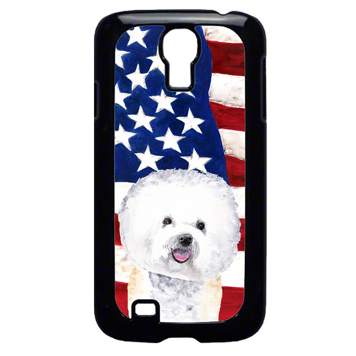 Carolines Treasures SC9014GALAXYS4 USA American Flag with Bichon Frise Cell Phone Cover GALAXY S4