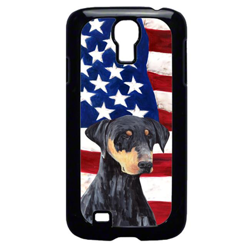 Carolines Treasures SC9030GALAXYS4 USA American Flag with Doberman Cell Phone Cover GALAXY S4