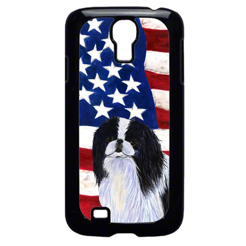 Carolines Treasures SS4223GALAXYS4 USA American Flag With Japanese Chin Galaxy S4 Cell Phone Cover