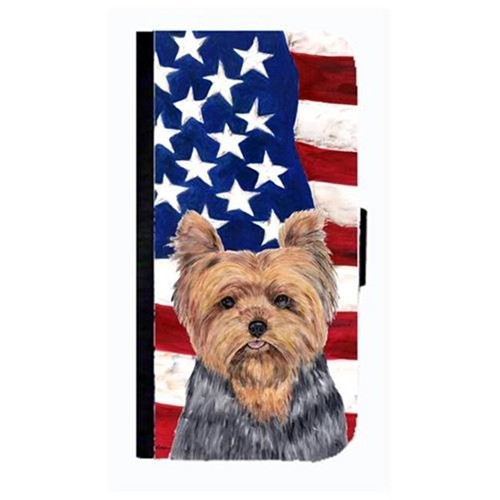 Carolines Treasures SC9111NBGALAXYS3 USA American Flag With Yorkie Cell Phonebook Case Cover For Galaxy S3