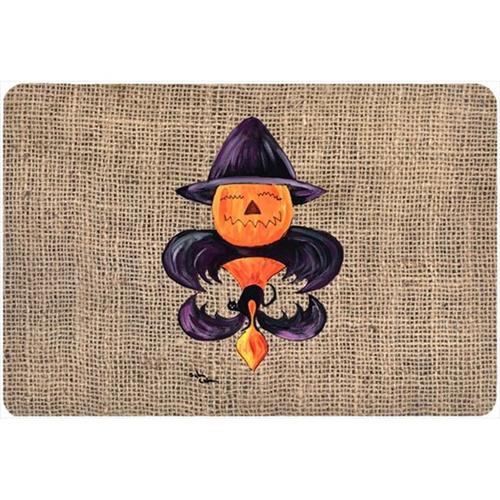 Carolines Treasures 8748MP 9.25 x 7.75 in. Halloween Pumpkin Bat Fleur de lis Mouse Pad Hot Pad Or Trivet
