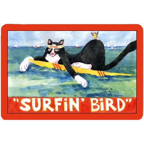 Carolines Treasures 6051MP Black And White Cat Surfin Bird Mouse Pad Hot Pad Or Trivet