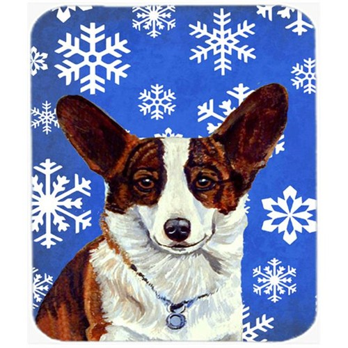 Carolines Treasures LH9288MP Corgi Winter Snowflakes Holiday Mouse Pad Hot Pad Or Trivet
