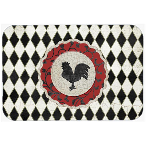 Carolines Treasures SB3086MP 7.75 x 9.25 In. Rooster Harlequin Black And White Mouse Pad Hot Pad Or Trivet