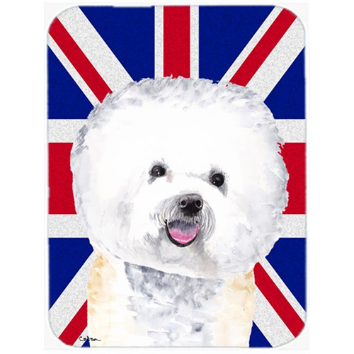 Carolines Treasures SC9818MP 7.75 x 9.25 In. Bichon Frise With English Union Jack British Flag Mouse Pad Hot Pad Or Trivet