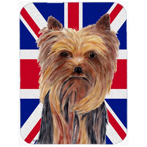 Carolines Treasures SC9822MP 7.75 x 9.25 In. Yorkie With English Union Jack British Flag Mouse Pad Hot Pad Or Trivet