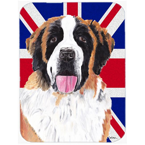Carolines Treasures SC9839MP 7.75 x 9.25 In. Saint Bernard With English Union Jack British Flag Mouse Pad Hot Pad Or Trivet