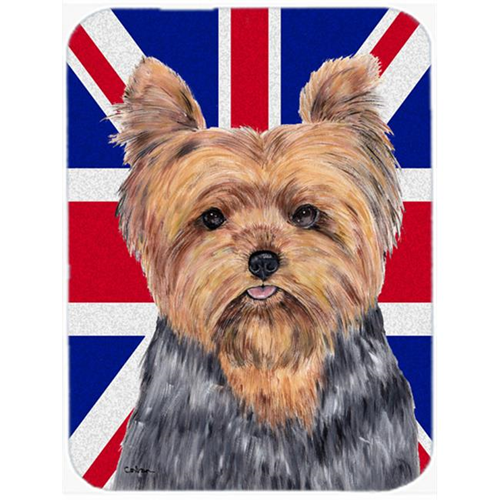 Carolines Treasures SC9845MP 7.75 x 9.25 In. Yorkie With English Union Jack British Flag Mouse Pad Hot Pad Or Trivet