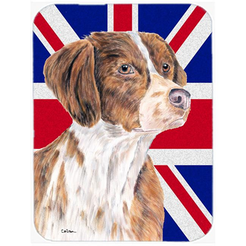 Carolines Treasures SC9846MP 7.75 x 9.25 In. Brittany Spaniel With English Union Jack British Flag Mouse Pad Hot Pad Or Trivet