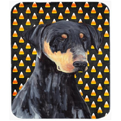 Carolines Treasures SC9148MP Doberman Natural Ears Candy Corn Halloween Mouse Pad Hot Pad or Trivet