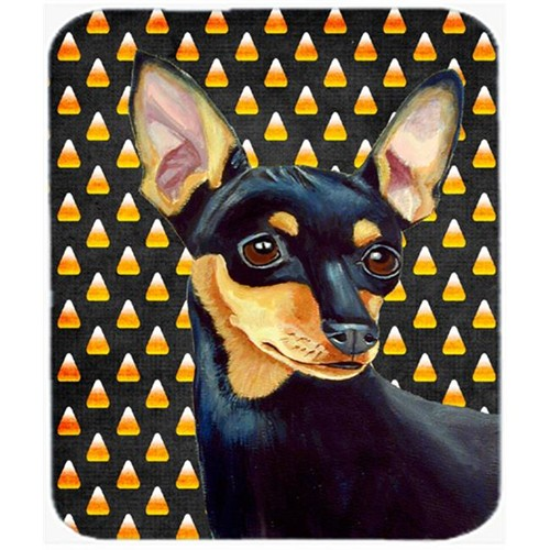 Carolines Treasures LH9076MP Min Pin Candy Corn Halloween Portrait Mouse Pad Hot Pad or Trivet