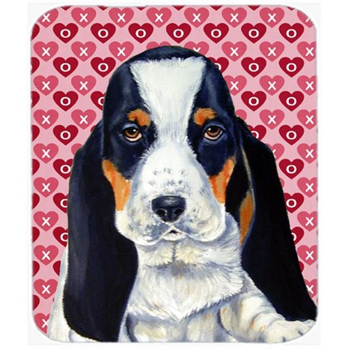 Carolines Treasures LH9149MP Basset Hound Hearts Love And Valentines Day Mouse Pad Hot Pad or Trivet