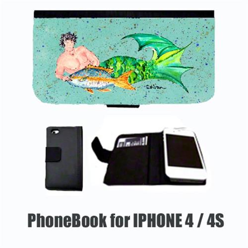 Carolines Treasures 8345-NBIP4 Merman Black Hair Merman Cell Phonebook Cell Phone case Cover for IPHONE 4 or 4S