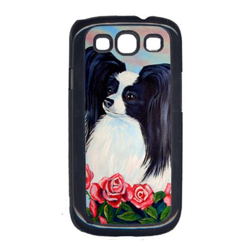 Carolines Treasures 7040GALAXYSIII Black And White Papillon In Roses Cell Phone Cover Galaxy S111