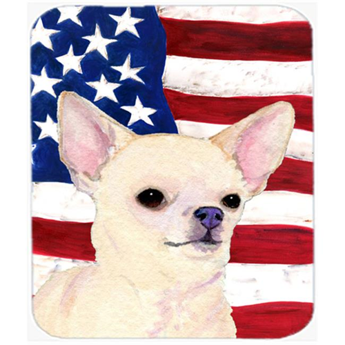 Carolines Treasures SS4228MP Usa American Flag With Chihuahua Mouse Pad Hot Pad or Trivet