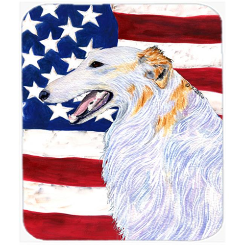Carolines Treasures SS4231MP Usa American Flag With Borzoi Mouse Pad Hot Pad or Trivet