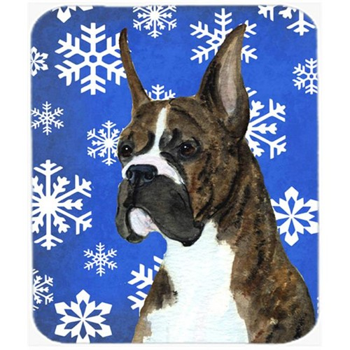 Carolines Treasures SS4646MP Boxer Winter Snowflakes Holiday Mouse Pad Hot Pad or Trivet