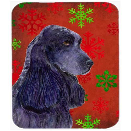 Carolines Treasures SS4678MP Cocker Spaniel Red and Green Snowflakes Christmas Mouse Pad Hot Pad or Trivet