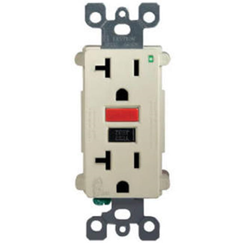 Leviton Mfg R11-Gfnt2-0Ri Outlet GFCI Self Test Red & Black Button 15A - Ivory