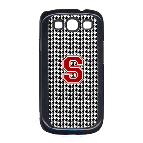 Carolines Treasures CJ1021-S-GALAXYSIII 3 x 5 in. Houndstooth Black Letter S Monogram Initial Cell Phone Cover for Galaxy S111