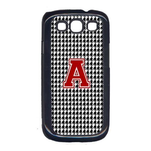 Carolines Treasures CJ1021-A-GALAXYSIII 3 x 5 in. Houndstooth Black Letter A Monogram Initial Cell Phone Cover for Galaxy S111