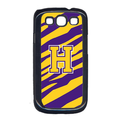 Carolines Treasures CJ1022-H-GALAXYSIII Tiger Stripe - Purple Gold Letter H Monogram Initial Galaxy S111 Cell Phone Cover