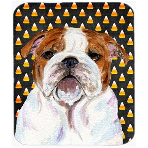 Carolines Treasures SS4277MP Bulldog English Candy Corn Halloween Portrait Mouse Pad Hot Pad Or Trivet