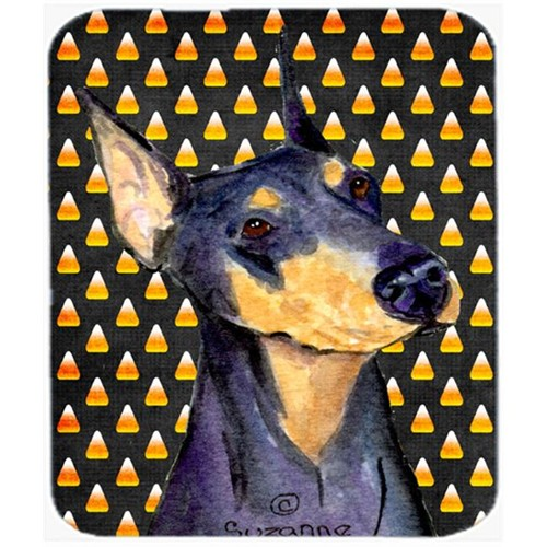 Carolines Treasures SS4288MP Doberman Candy Corn Halloween Portrait Mouse Pad Hot Pad Or Trivet