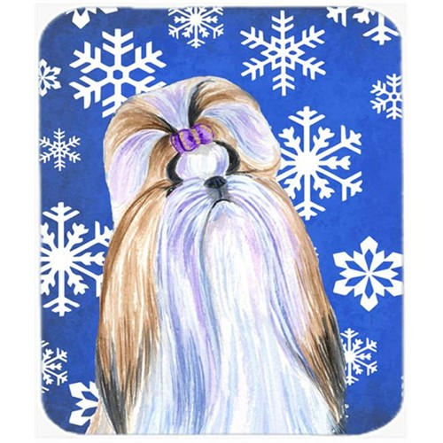 Carolines Treasures SS4603MP Shih Tzu Winter Snowflakes Holiday Mouse Pad Hot Pad Or Trivet