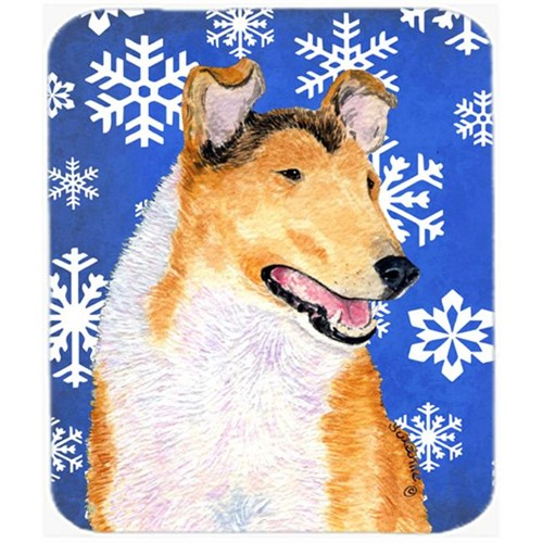 Carolines Treasures SS4608MP Collie Smooth Winter Snowflakes Holiday Mouse Pad Hot Pad Or Trivet