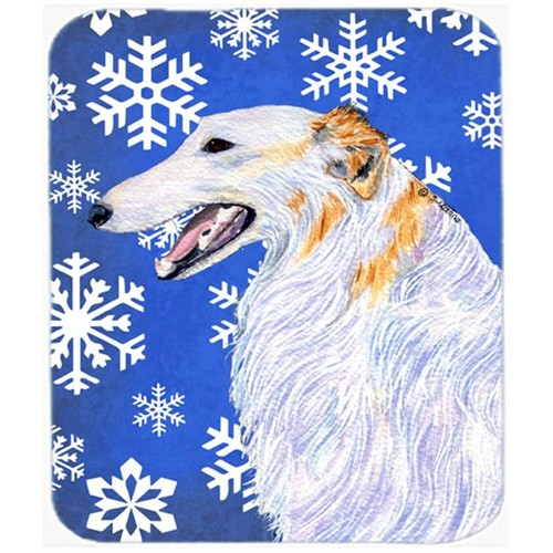 Carolines Treasures SS4613MP Borzoi Winter Snowflakes Holiday Mouse Pad Hot Pad Or Trivet