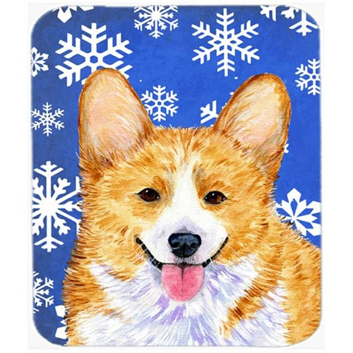 Carolines Treasures SS4624MP Corgi Winter Snowflakes Holiday Mouse Pad Hot Pad or Trivet