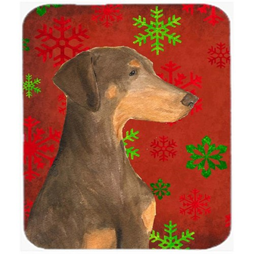Carolines Treasures SS4686MP Doberman Red and Green Snowflakes Christmas Mouse Pad Hot Pad or Trivet