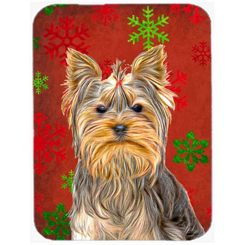 Carolines Treasures KJ1184MP Red Snowflakes Holiday Christmas Yorkie & Yorkshire Terrier Mouse Pad Hot Pad or Trivet