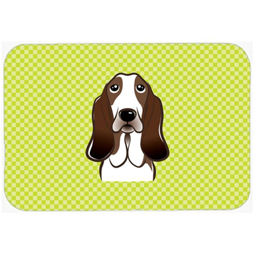 Carolines Treasures BB1305MP Checkerboard Lime Green Basset Hound Mouse Pad Hot Pad Or Trivet 7.75 x 9.25 In.