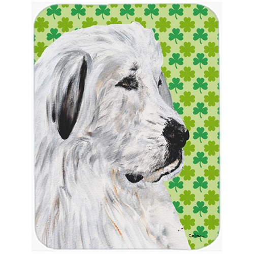 Carolines Treasures SC9738MP Great Pyrenees Lucky Shamrock St. Patricks Day Mouse Pad Hot Pad Or Trivet 7.75 x 9.25 In.