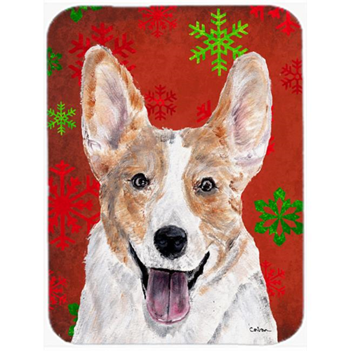 Carolines Treasures SC9744MP Cardigan Corgi Red Snowflakes Holiday Mouse Pad Hot Pad Or Trivet 7.75 x 9.25 In.