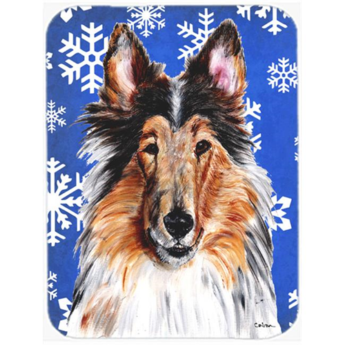 Carolines Treasures SC9766MP Collie Winter Snowflakes Mouse Pad Hot Pad Or Trivet 7.75 x 9.25 In.