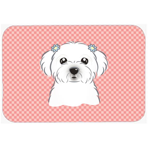 Carolines Treasures BB1208MP Checkerboard Pink Maltese Mouse Pad Hot Pad Or Trivet 7.75 x 9.25 In.