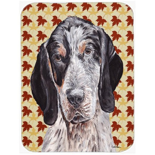 Carolines Treasures SC9673MP 7.75 x 9.25 In. Blue Tick Coonhound Fall Leaves Mouse Pad Hot Pad Or Trivet