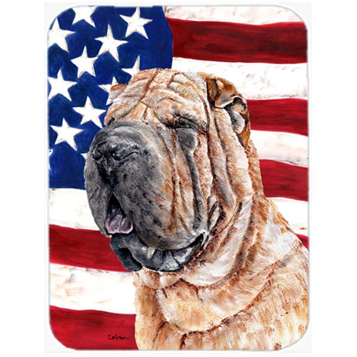 Carolines Treasures SC9623MP Shar Pei With American Flag Usa Mouse Pad Hot Pad Or Trivet 7.75 x 9.25 In.